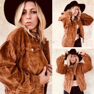 Jackets & Blazers - Corduroy puff sleeve button down jacket TAN